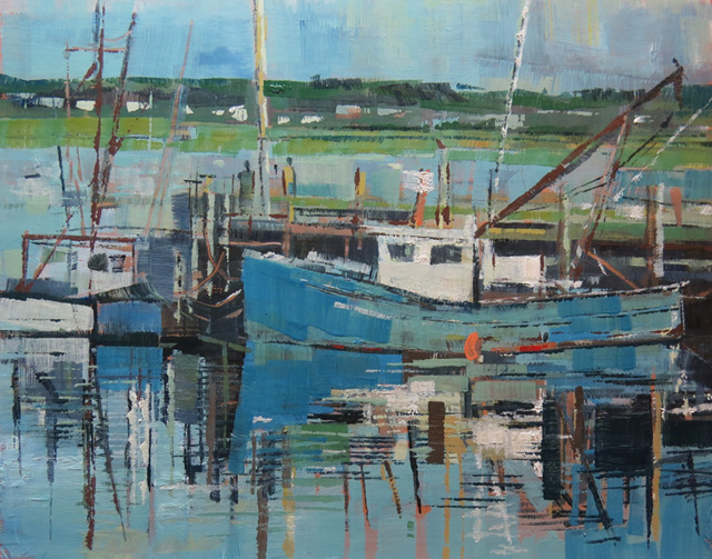 Fishing boats at Wellfleet, Cape Cod. Oil on gesso panel, 30 x 26 cms