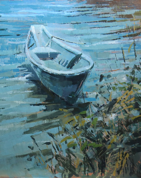 Rowing boat, Wellfleet, Cape Cod. Oil on gesso panel, 30 x 26 cms