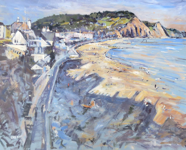 Sidmouth, Shadows. Oil on Panel.