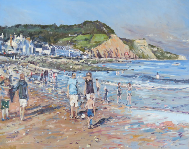 Sidmouth, August afternoon. Oil on panel.