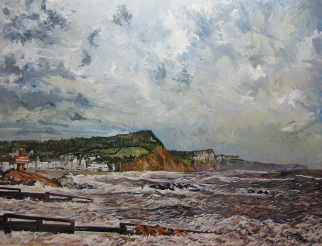 Sidmouth, Building the Groynes. Oil on paper.