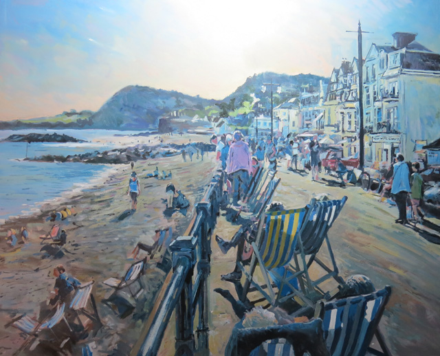 Sidmouth, deckchairs. Oil on panel.