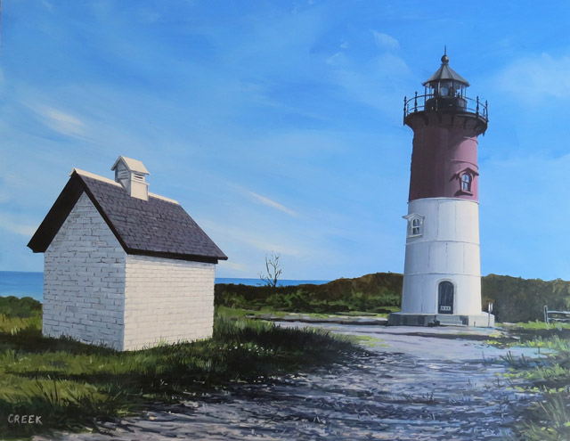 Nauset Light House, Cape Cod. Acrylic on panel.